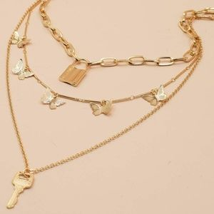 Brat Old English & Butterfly Layered Necklace